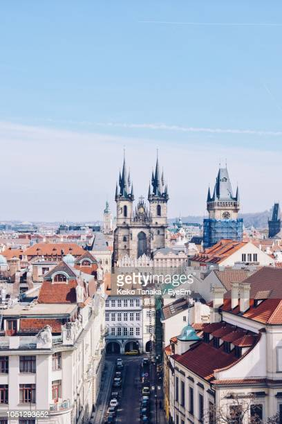 high angle view of buildings in city - czech republic stock pictures, royalty-free photos & images