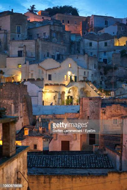 high angle view of buildings in city - matera italy stock pictures, royalty-free photos & images