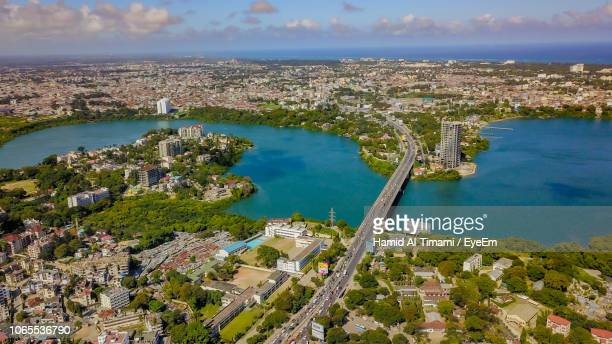 high angle view of buildings in city - mombasa stock photos and pictures