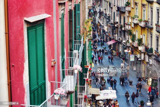high angle view of buildings in city (naples) - naples italy stock pictures, royalty-free photos & images