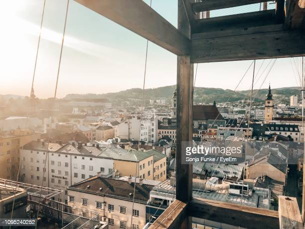 high angle view of buildings in city - linz stock pictures, royalty-free photos & images