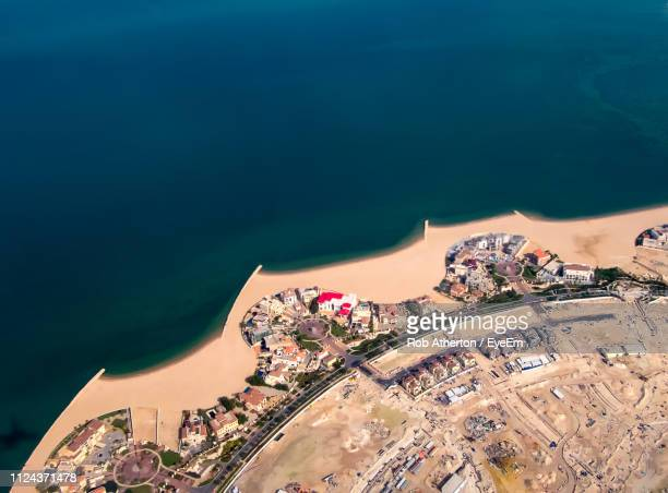 high angle view of buildings in city - doha stock pictures, royalty-free photos & images