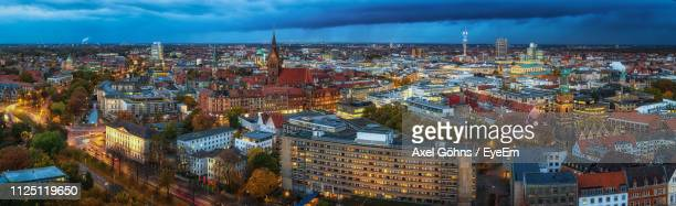 high angle view of buildings in city - hanover germany stock pictures, royalty-free photos & images