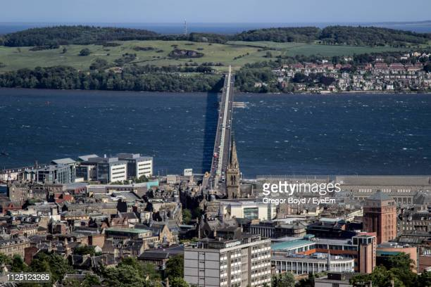 high angle view of buildings in city - dundee scotland stock pictures, royalty-free photos & images