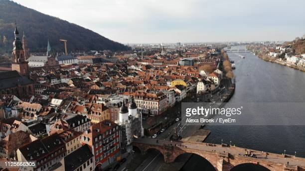 high angle view of buildings in city - heidelberg stock photos and pictures
