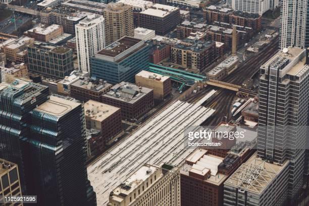 high angle view of buildings in city - bortes foto e immagini stock