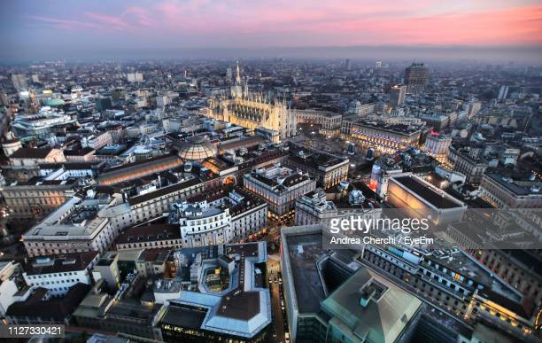 high angle view of buildings in city - milan stock pictures, royalty-free photos & images