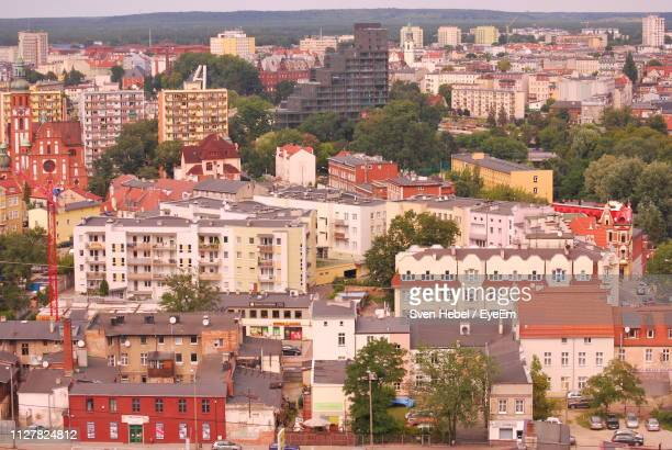 high angle view of buildings in city - bydgoszcz stock pictures, royalty-free photos & images