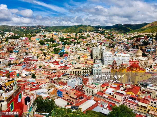 high angle view of buildings in city - guanajuato stock pictures, royalty-free photos & images