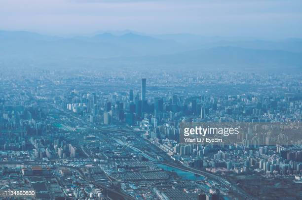 high angle view of buildings in city - beijing stock pictures, royalty-free photos & images
