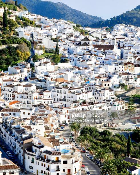 high angle view of buildings in city - andalucia fotografías e imágenes de stock
