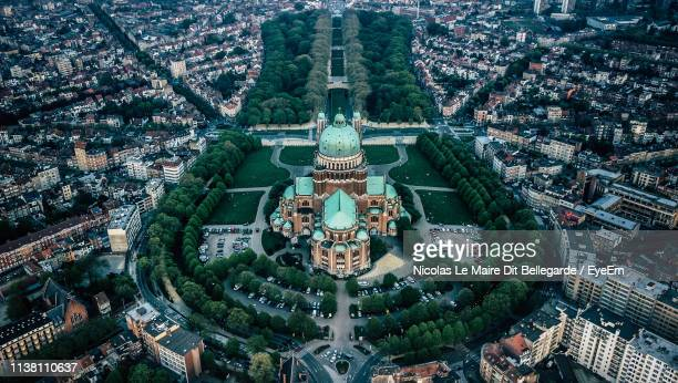 high angle view of buildings in city - brussels capital region stock pictures, royalty-free photos & images