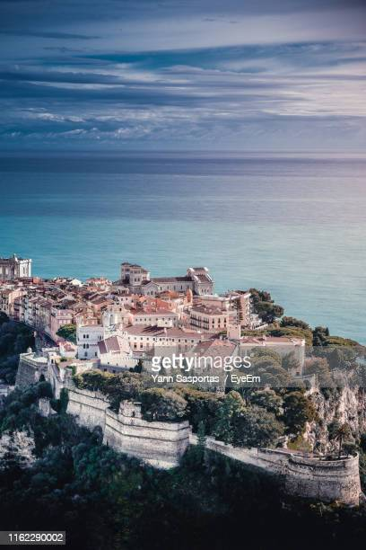 high angle view of buildings in city - monte carlo stock pictures, royalty-free photos & images