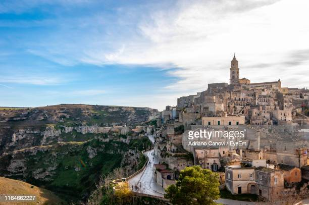 high angle view of buildings in city - basilicata region stock pictures, royalty-free photos & images
