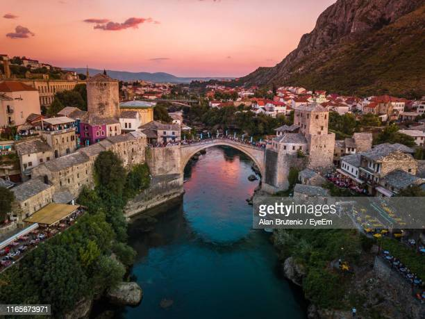 high angle view of buildings in city - bosnia and hercegovina stock pictures, royalty-free photos & images