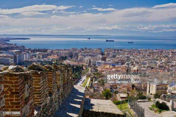 high angle view of buildings in city - thessaloniki stock pictures, royalty-free photos & images