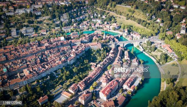 high angle view of buildings in city - bern stock pictures, royalty-free photos & images