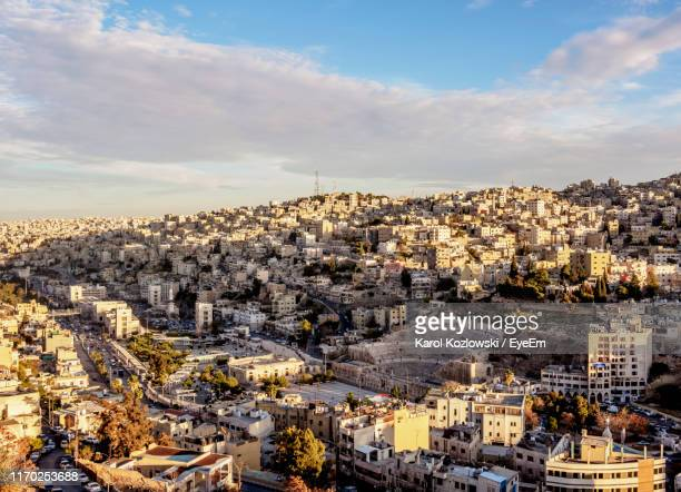 high angle view of buildings in city - amman stock pictures, royalty-free photos & images
