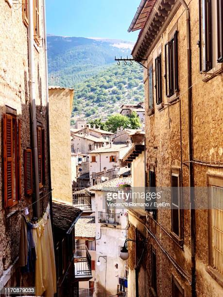 high angle view of buildings in city - abruzzi stock pictures, royalty-free photos & images