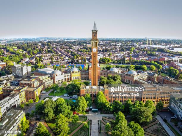 high angle view of buildings in city - birmingham england stock pictures, royalty-free photos & images