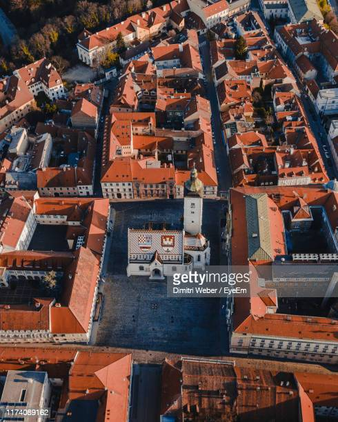 high angle view of buildings in city - zagreb stock-fotos und bilder