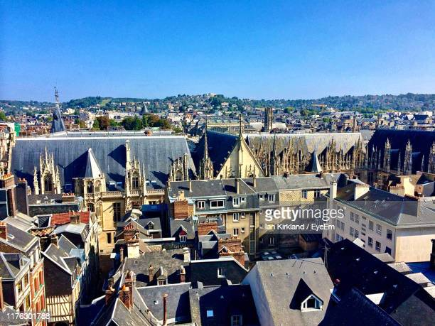 high angle view of buildings in city - rouen stock pictures, royalty-free photos & images