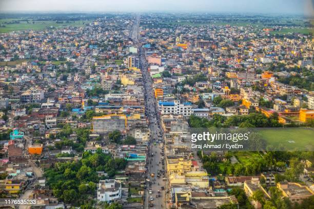 high angle view of buildings in city - lumbini nepal stock pictures, royalty-free photos & images