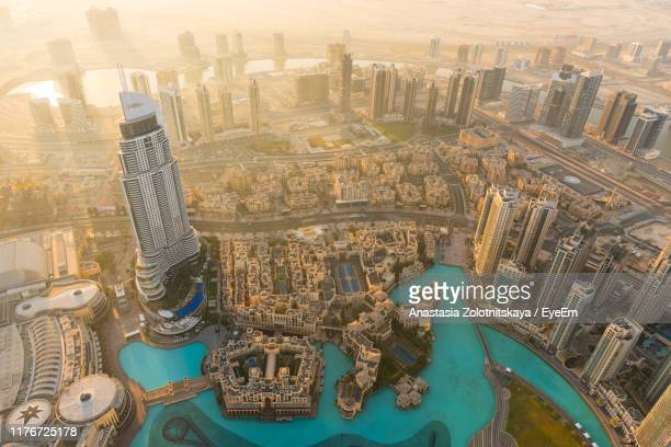 high angle view of buildings in city - dubai stock pictures, royalty-free photos & images