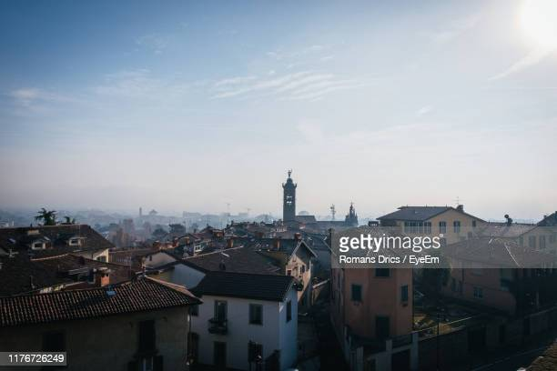 high angle view of buildings in city - bergamo alta foto e immagini stock