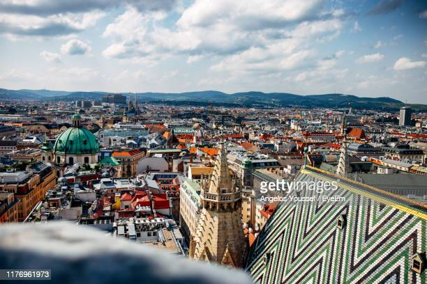 high angle view of buildings in city - wien stock-fotos und bilder