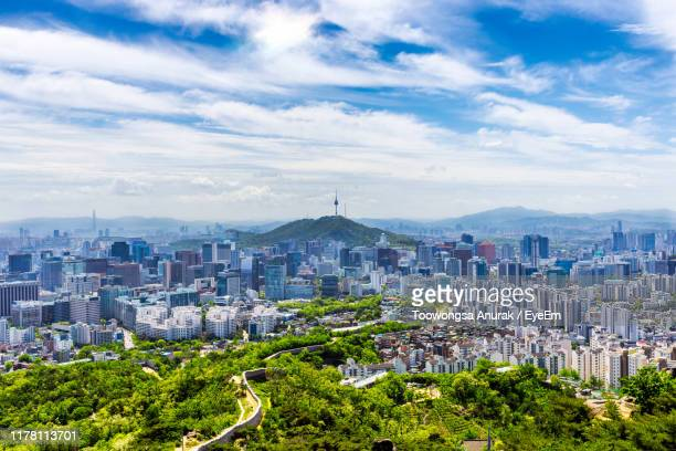 high angle view of buildings in city - south korea stock pictures, royalty-free photos & images