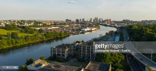 high angle view of buildings in city - newark new jersey stock pictures, royalty-free photos & images