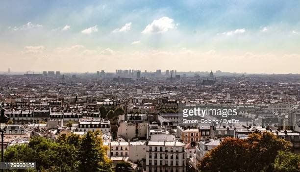high angle view of buildings in city - colbing stock pictures, royalty-free photos & images