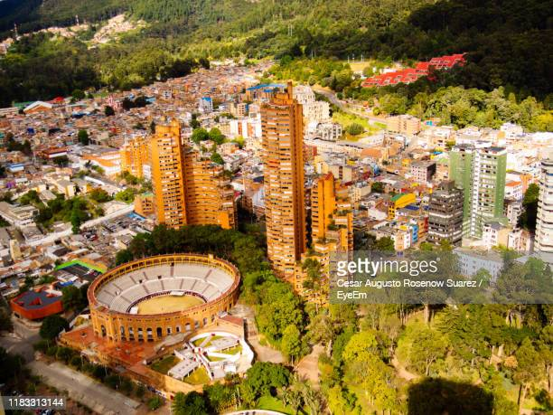 high angle view of buildings in city - bogota stock pictures, royalty-free photos & images