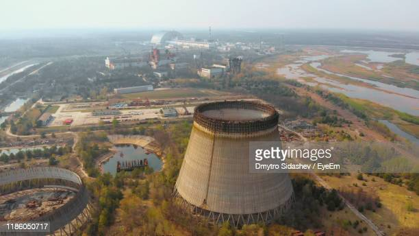 high angle view of buildings in city - chernobyl nuclear power plant stock pictures, royalty-free photos & images