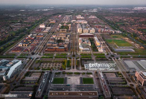 high angle view of buildings in city - milton keynes stock pictures, royalty-free photos & images