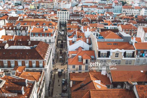 high angle view of buildings in city - bortes stock pictures, royalty-free photos & images