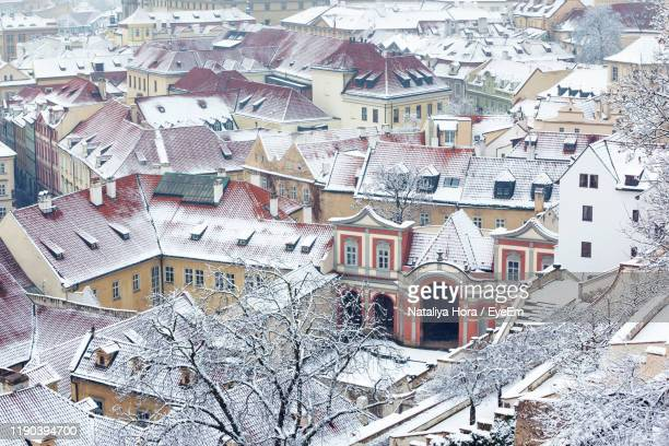 high angle view of buildings in city - bohemia czech republic stock pictures, royalty-free photos & images