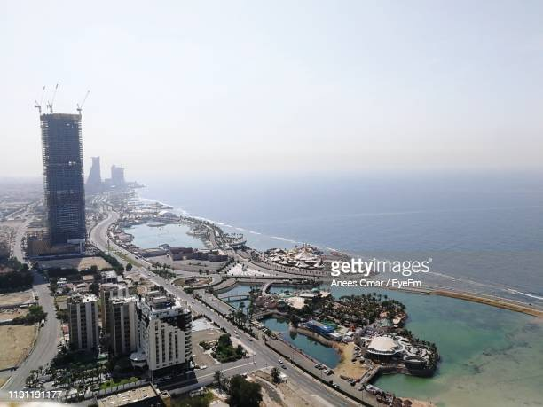 high angle view of buildings in city - jeddah stock pictures, royalty-free photos & images