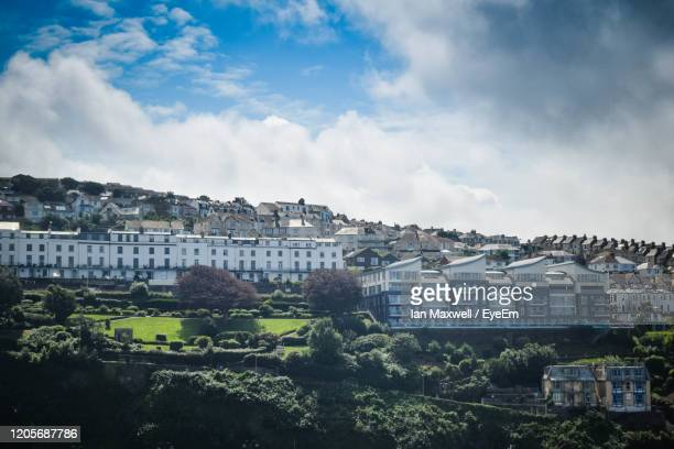 high angle view of buildings in city - ilfracombe stock pictures, royalty-free photos & images