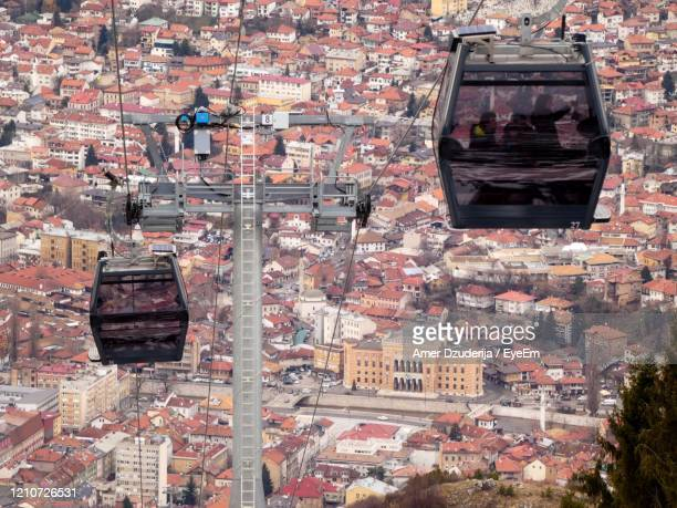 high angle view of buildings in city - sarajevo stock pictures, royalty-free photos & images