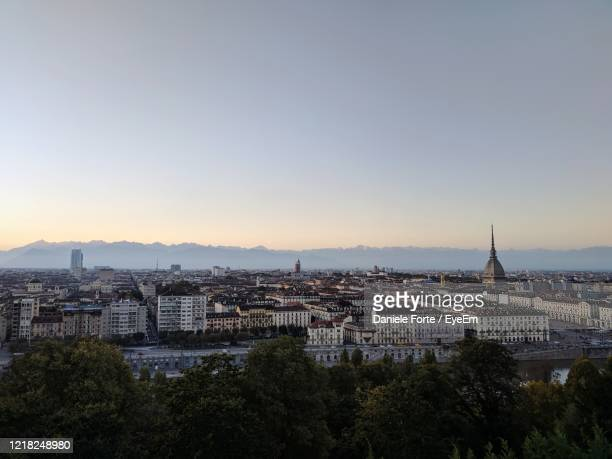 high angle view of buildings in city - turin stock pictures, royalty-free photos & images