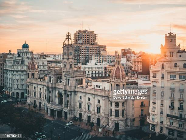 high angle view of buildings in city - valencia stock pictures, royalty-free photos & images