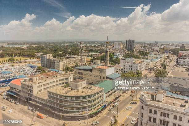 high angle view of buildings in city - mombasa stock pictures, royalty-free photos & images