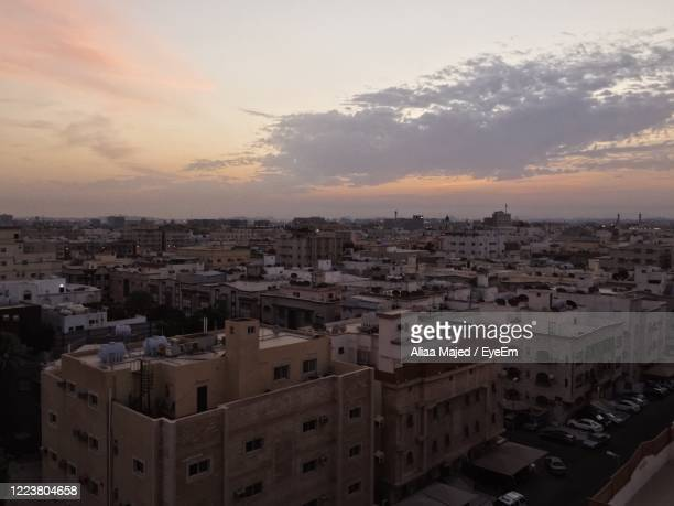 high angle view of buildings in city - jiddah stock pictures, royalty-free photos & images