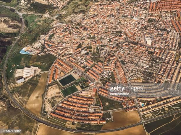 high angle view of buildings in city - bortes fotografías e imágenes de stock
