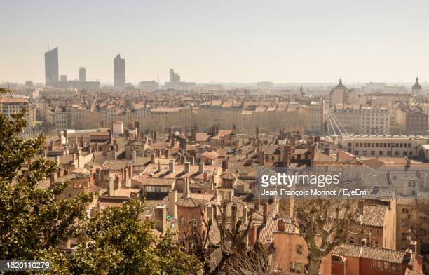 high angle view of buildings in city - lyon stock pictures, royalty-free photos & images