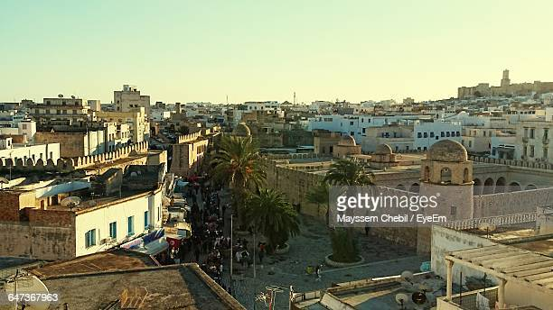 high angle view of buildings in city - sousse stock pictures, royalty-free photos & images