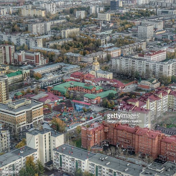 high angle view of buildings in city - yekaterinburg stock pictures, royalty-free photos & images
