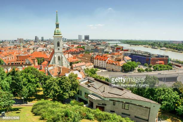 high angle view of buildings in city - bratislava stock pictures, royalty-free photos & images